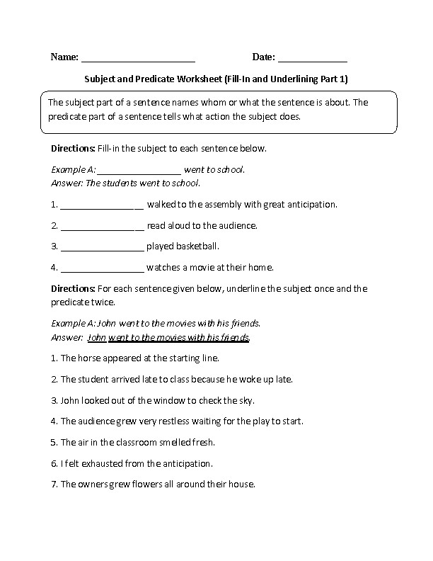 Subject and Predicate Worksheet Fill In and Underlining