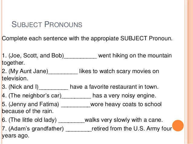 subject and object pronouns exercises 2 638
