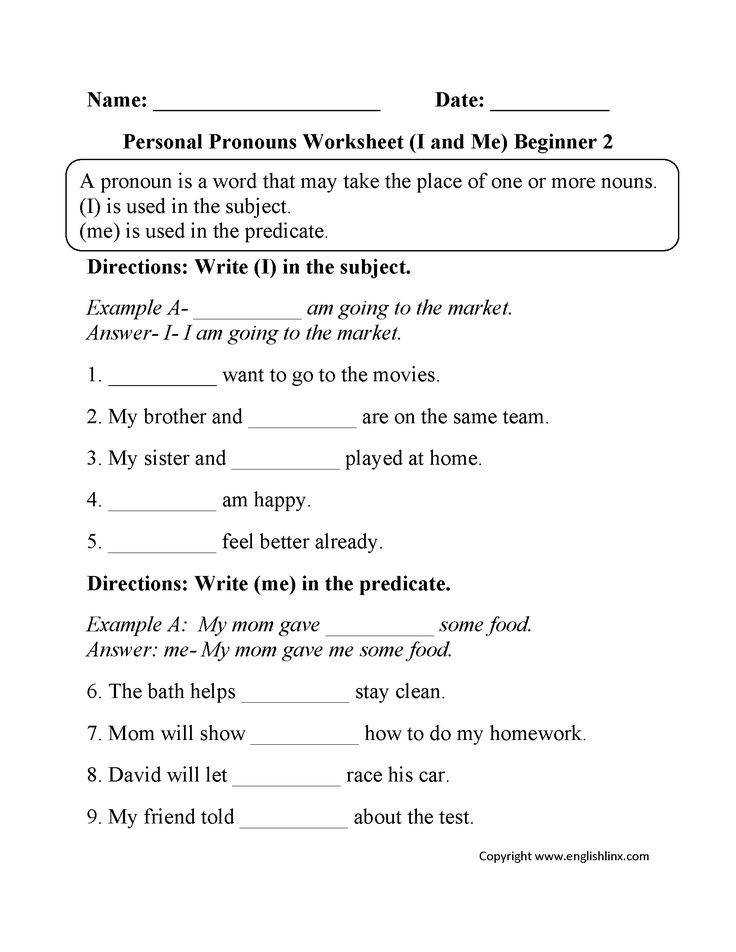 This is the personal pronouns worksheets section A personal pronoun is used to substitute the names of people or things that perform actions