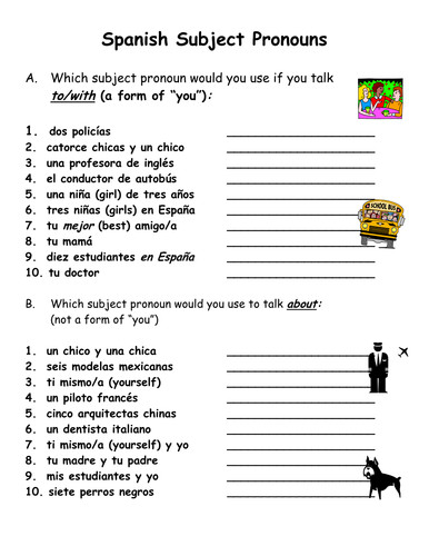 Spanish Subject Pronouns Practice & Worksheet by suesummersshop Teaching Resources Tes