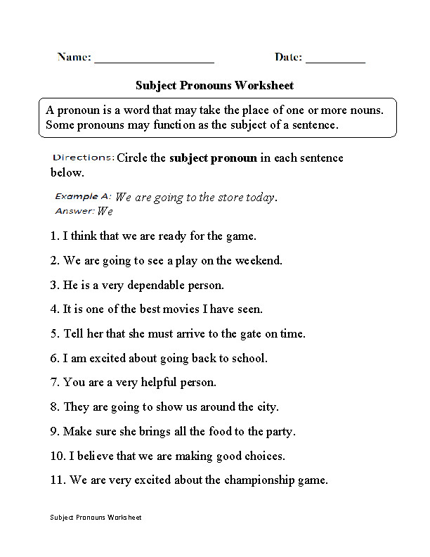 Grades K 5 Subject and Object Pronouns Worksheets