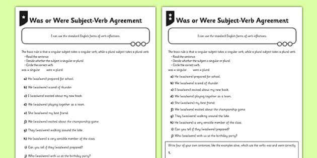 T2 E 1963 Was or Were Subject Verb Agreement Activity Sheets