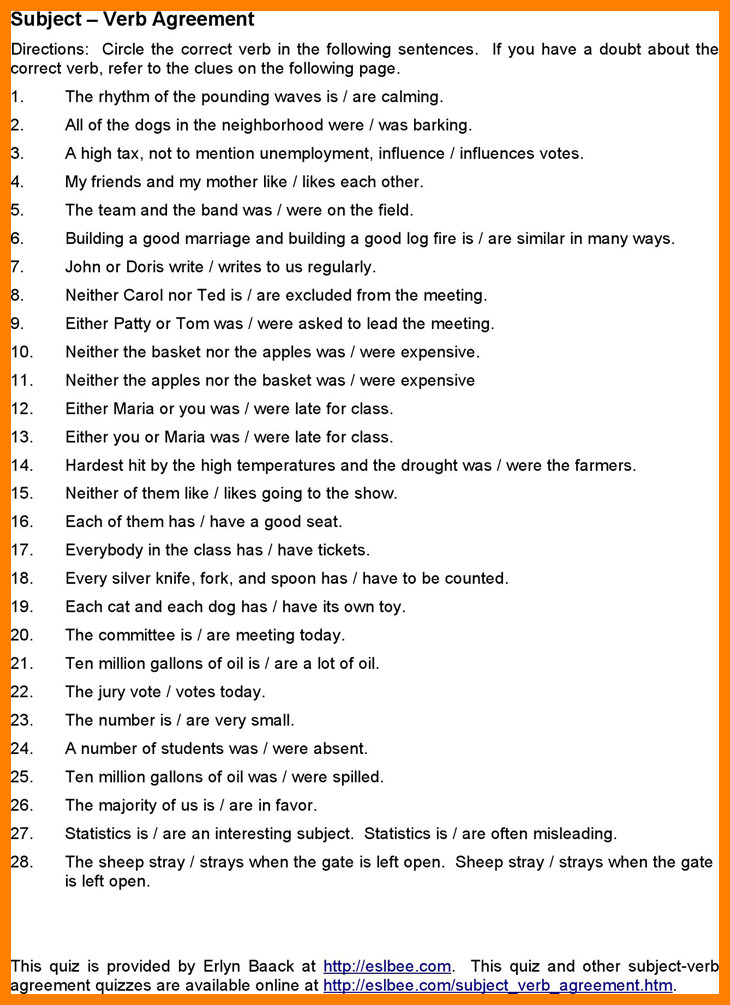 subject verb agreement pdfbject verb agreement worksheets 2 caption