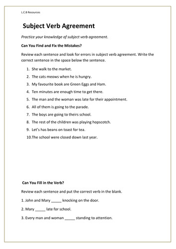 Subject verb agreement worksheet by louisacarol Teaching Resources Tes