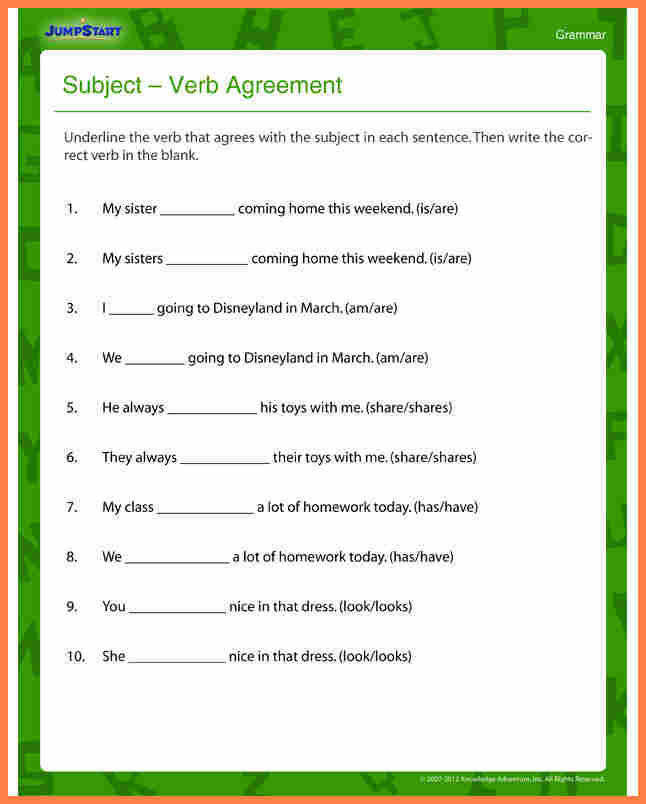Subject Verb Agreement Worksheets Homeschooldressage