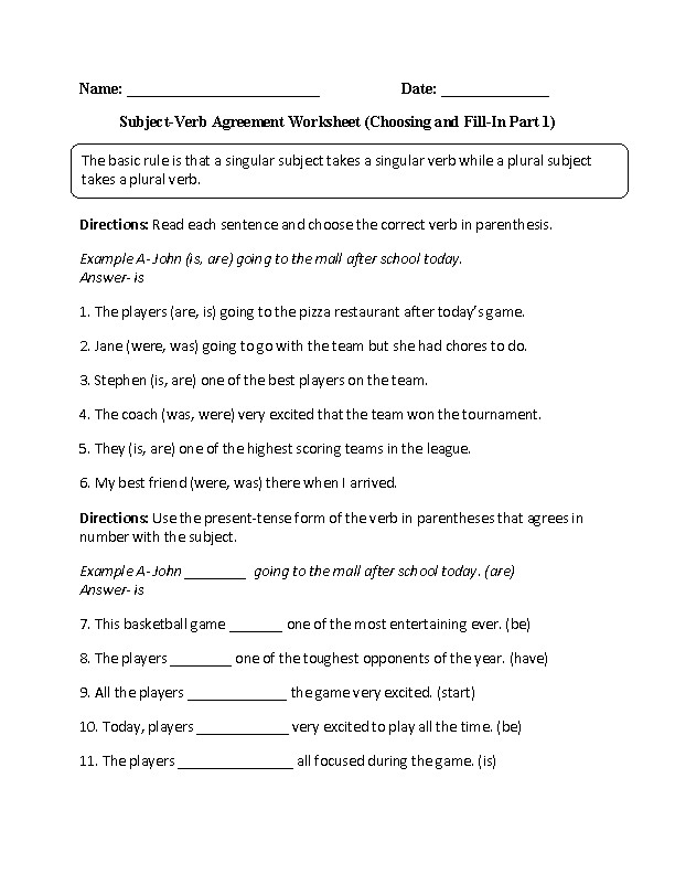 Subject Verb Agreement Worksheet