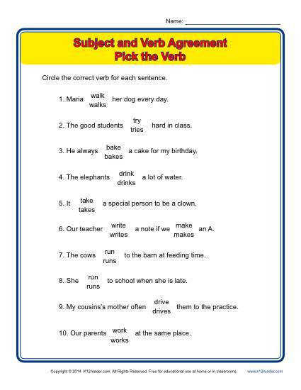 Subject Verb Agreement Pick the Verb