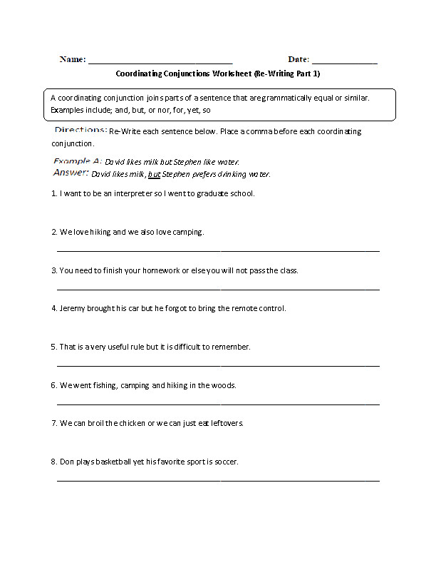 This fun conjunctions worksheet directs the student to re write each sentence and place a ma before each coordinating conjunction