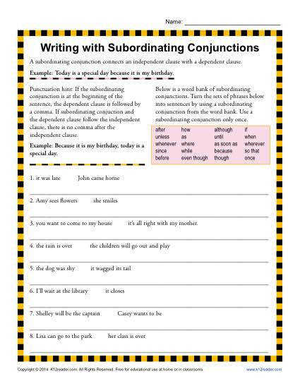 Writing with Subordinating Conjunctions
