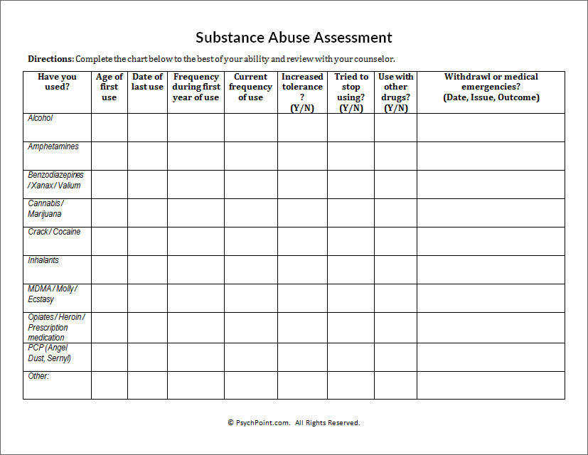 Substance Abuse Assessment Worksheet