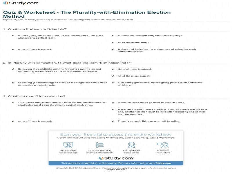 Quiz & Worksheet The Plurality With Elimination Election Method