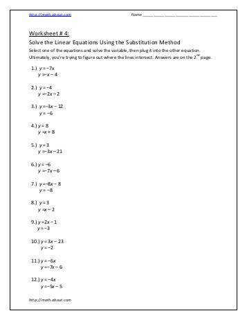 Worksheet 4 Solve the Linear Equations Using the Substitution