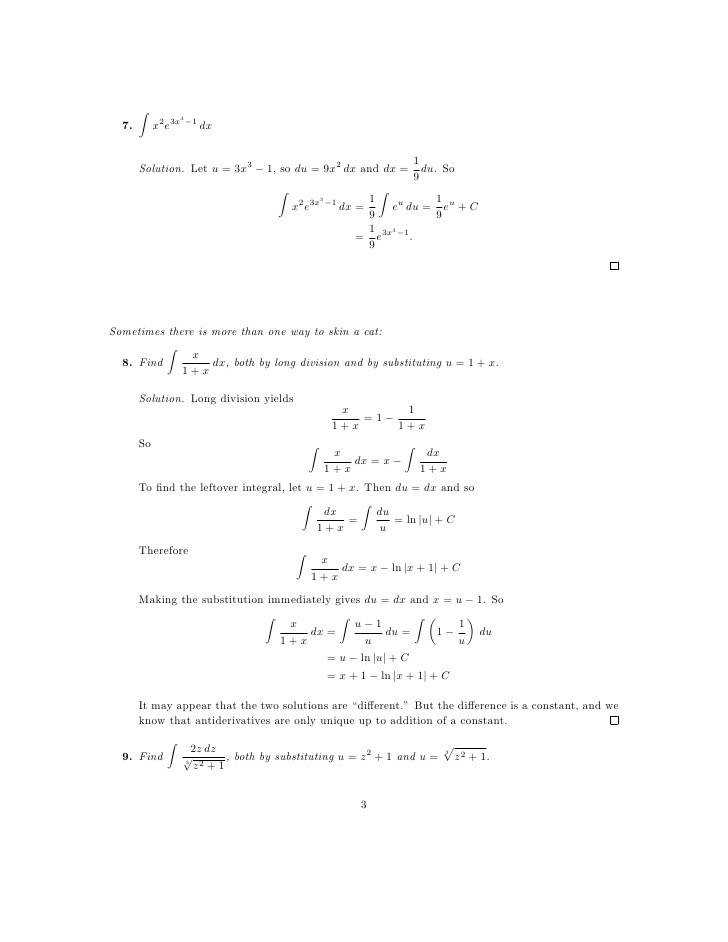 lesson 27 integration by substitution worksheet solutions 3 728