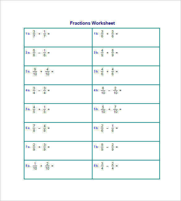 Add and Subtract Fractions Worksheet