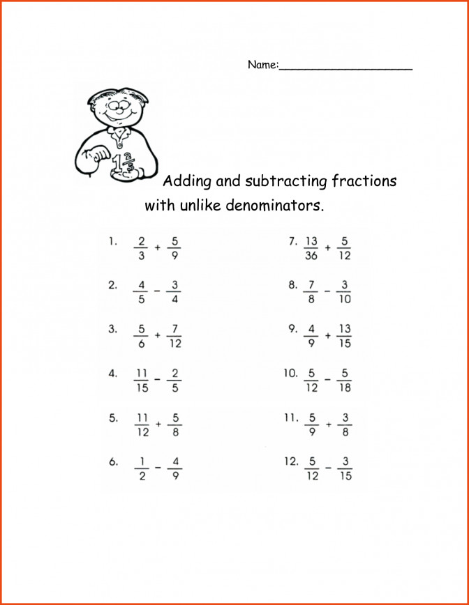 Adding Fractions With Unlike Denominators Worksheet And Subtract