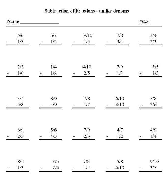 Printable addition of fractions pratice sheet