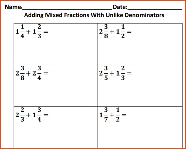 Adding And Subtracting Fractions With Unlike Denominators Worksheets Adding Fractions With Unlike Denominators Worksheet With