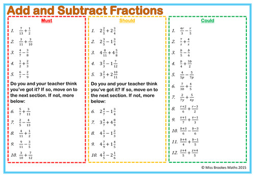 Fractions Worksheets Normal and Algebraic Equivalent