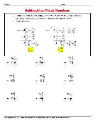 subtracting mixed number fractions Download worksheets