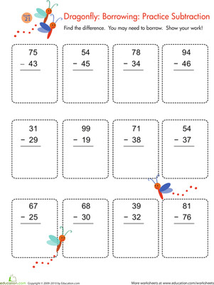 Second Grade Math Worksheets Double Digit Subtraction