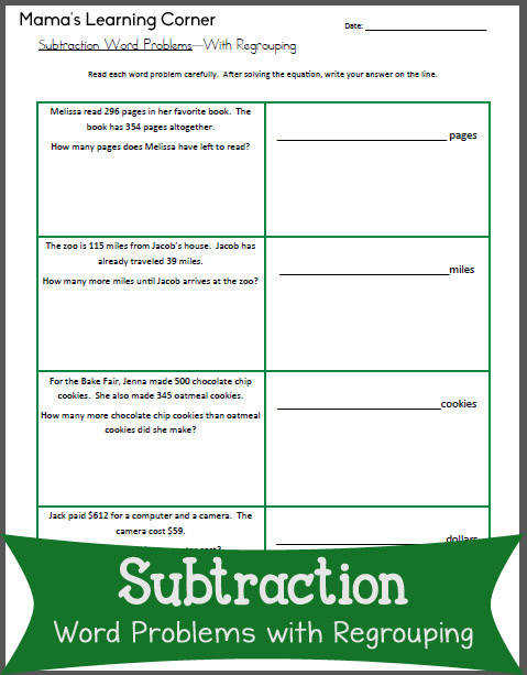 Subtraction Worksheet Word Problems with Regrouping