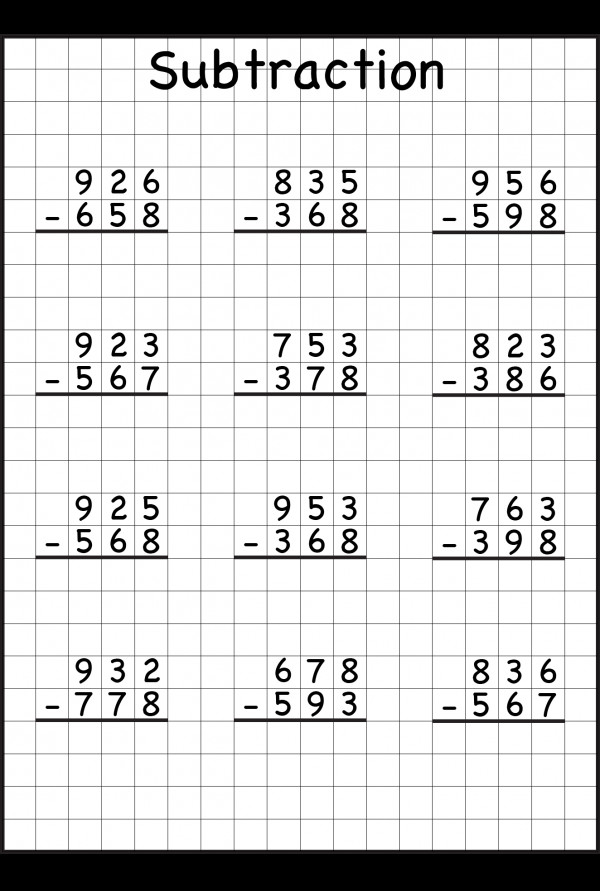 subtraction regrouping Worksheet