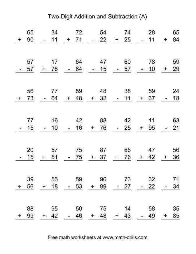 Adding And Subtracting Two Digit Numbers Second Grade Worksheets Mixed Addition Subtraction No Regrouping Bda0231b689dafa2c
