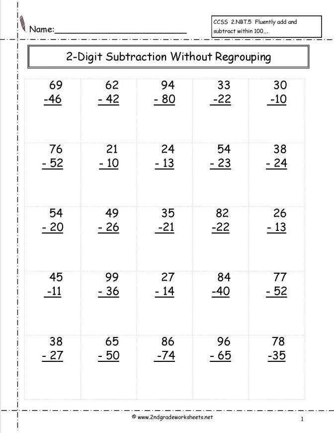 Two Digit Subtraction Without Regrouping Worksheet 2nd Grade 2 Addition And Free Worksheets 209b2efda7a469aabb145f07ba9 2 Digit