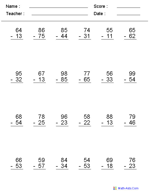 2 Digit No Regrouping Vertical Format Subtraction Worksheets
