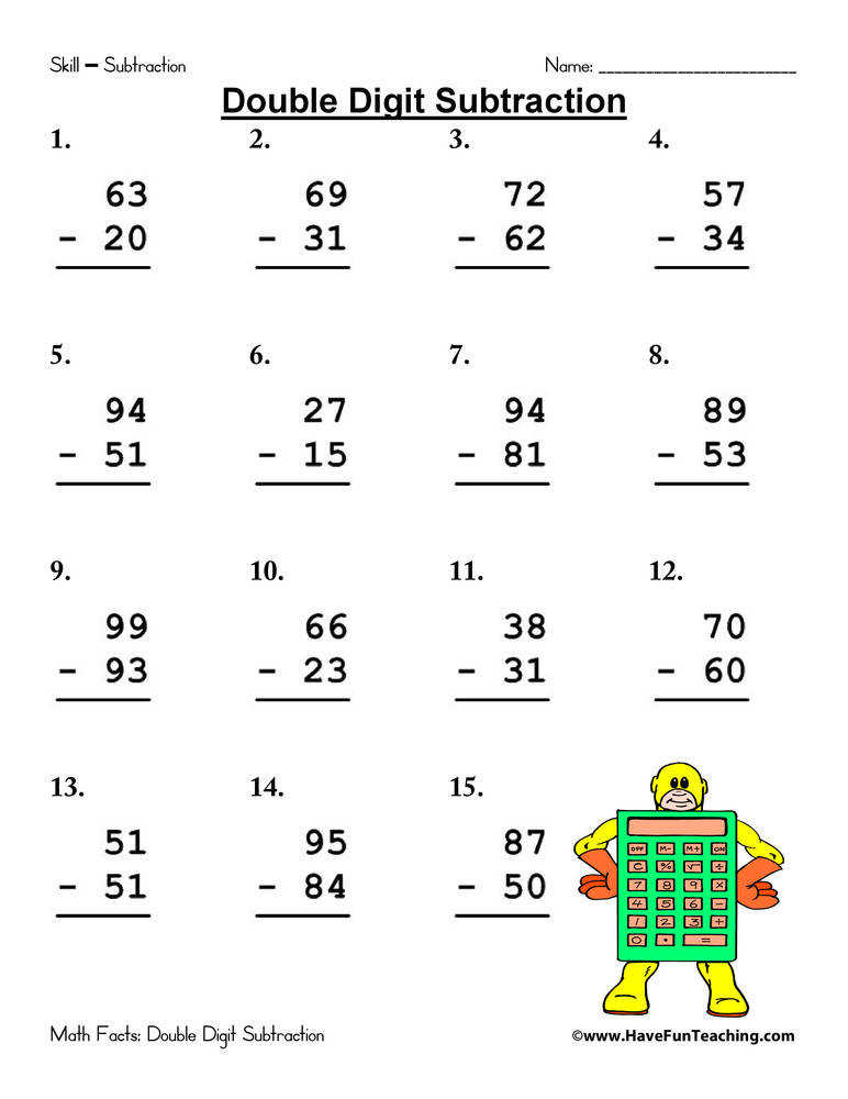 Worksheets Double Digit Subtraction With Regrouping Worksheets double digit subtraction worksheet have fun teaching worksheet