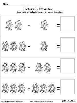 Practice subtraction using pictures in this math printable worksheet Browse other free subtraction worksheets