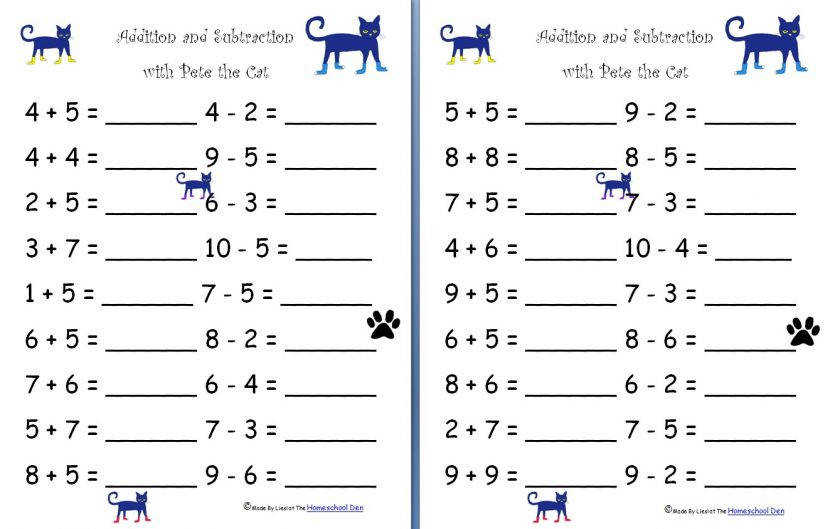 Math Worksheets For Kindergarten Addition And Subtraction Y