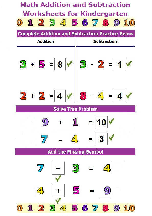Math Addition and Subtraction Worksheets for Kindergarten