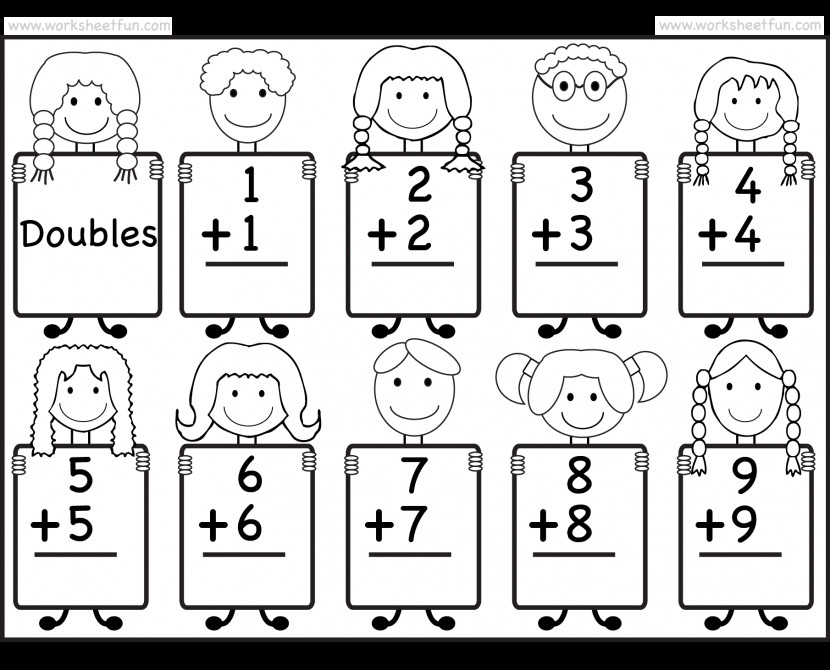 Addition Doubles Facts Beginner Worksheet Free Cut And Paste Subtraction Worksheets Kids Boards Doubles W Cut