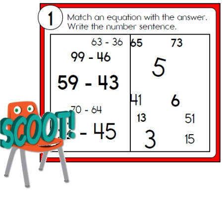 Scoot Subtraction Math Games