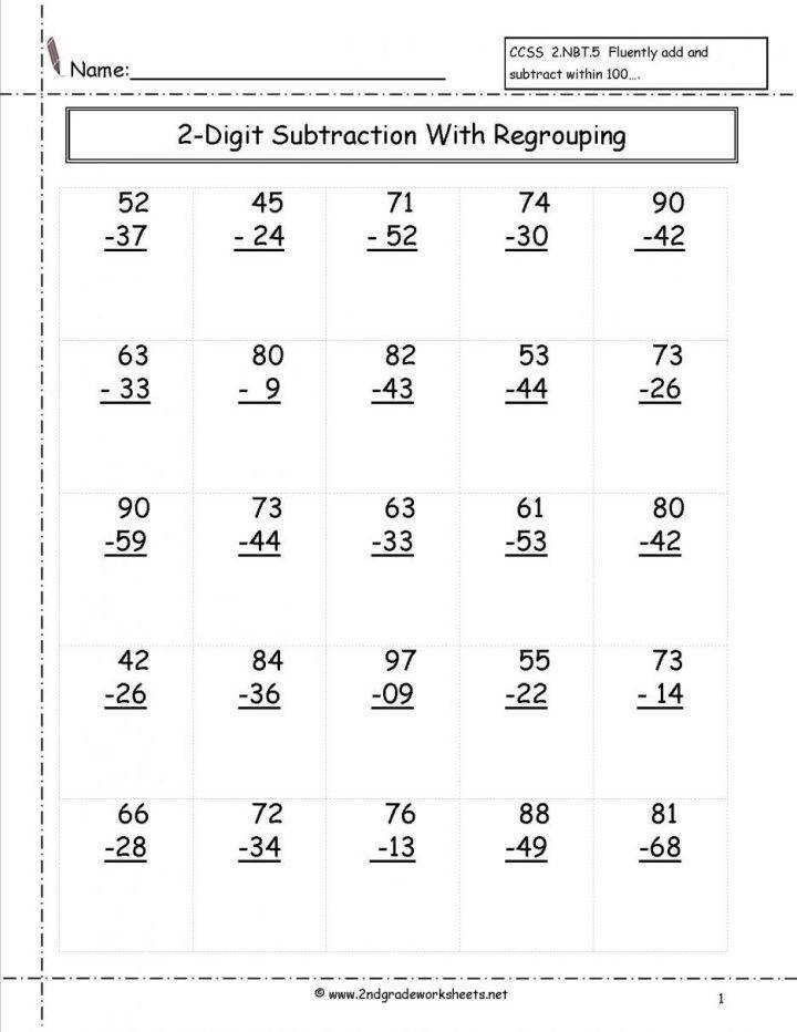 Third Grade Subtraction Worksheets Practice Math Mental Free mon Core Regrouping 3rd Addition And Word Problems