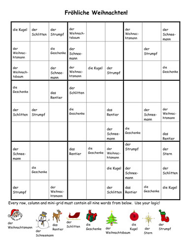 Free German Christmas Sudoku worksheet