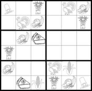 Thanksgiving Sudoku Game Worksheets easy & hard