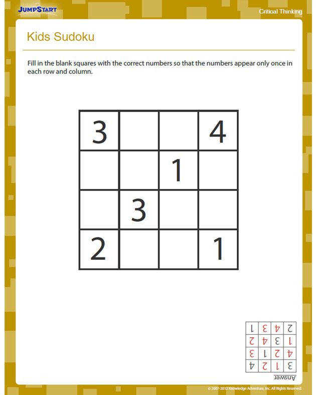 Kids Sudoku Free Critical Thinking Worksheet for 2nd Grade