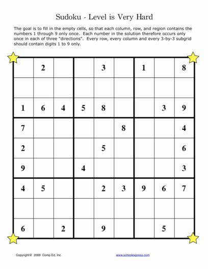 Sudoku Worksheets Very Hard Level 9x9 Grid 54