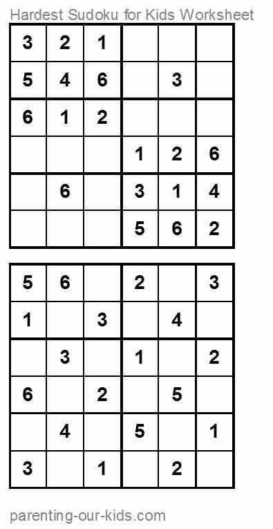 hardest kids sudoku worksheet 2