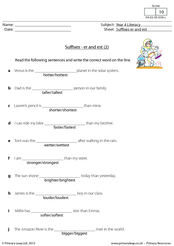 Suffixes Er and Est 2