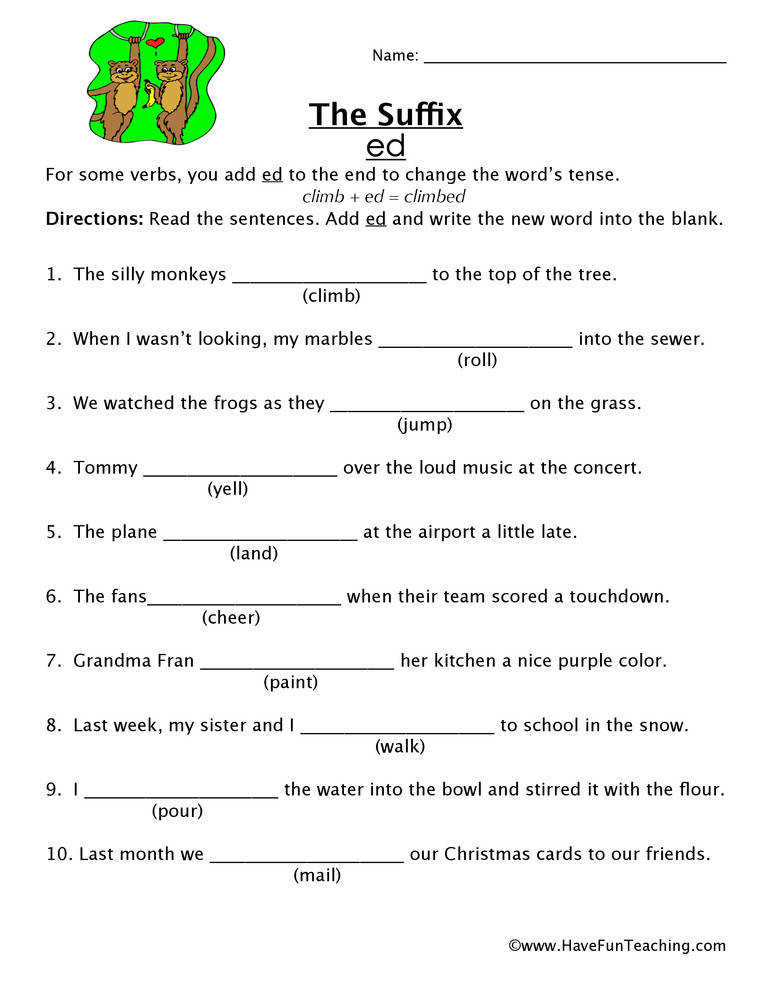 Suffix Worksheet ED