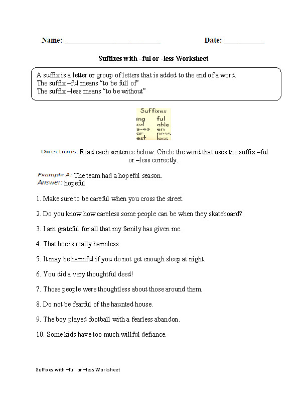 Suffixes with ful or less Worksheet