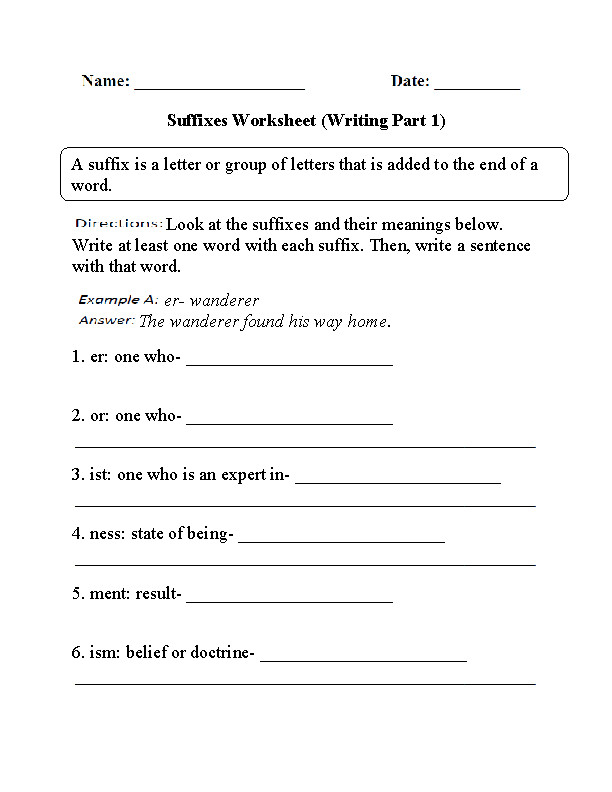 Suffixes Worksheet Part 1