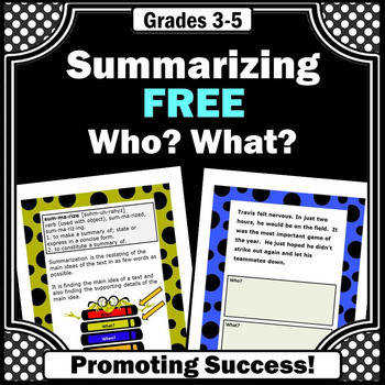 FREE Summarizing Worksheets Wh Questions Reading prehension Passages