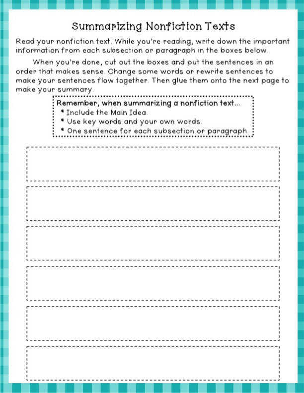 Great worksheet for summarizing Nonfiction texts can be aligned with mmon core standard 4 RIT 2 Determine the main idea of a text and explain how it is