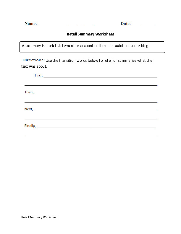 Summary Worksheet