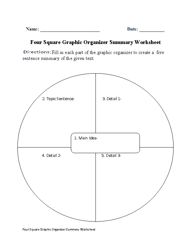 Four Square Summary Worksheet