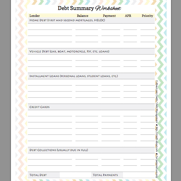 Debt Summary Worksheet for Organizing and Prioritzing
